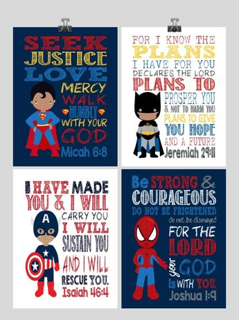African American Christian Superhero Nursery Print Set of 4 - Batman, Captain America, Superman and Spiderman - Multiple Sizes