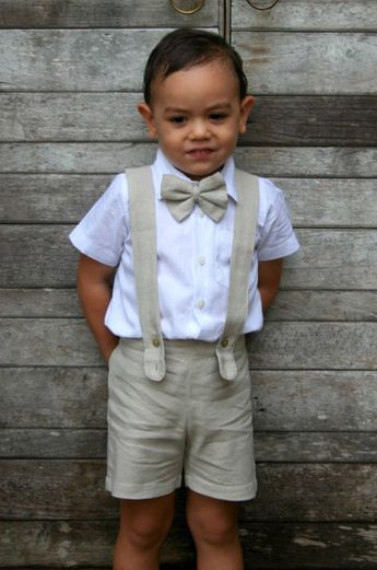 23043e539f Boy Suspender Shorts - Beige,Linen Shorts,Page Boy,Christening Outfit, Ringbearer