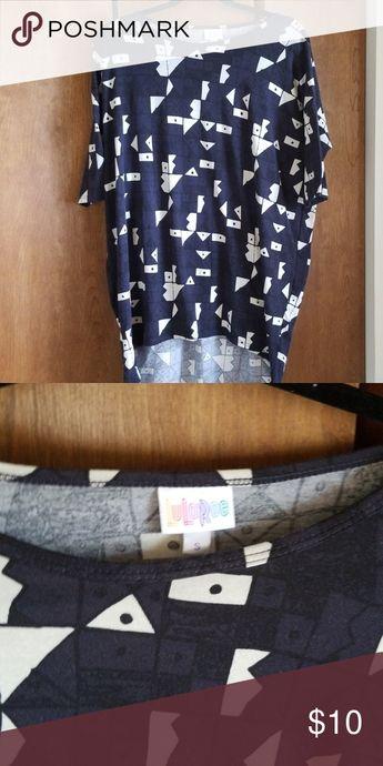 Lularoe Irma Unique LLR irma with navy/black/white print- size small LuLaRoe Tops Tees - Short Sleeve