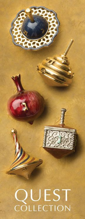 Hand-crafted, artisanal dreidels by Quest Collection. Designed by artists, hand-painted by craftsmen. Made in America. These dreidels are perfect for children and collectors alike, and make truly memorable Hanukkah gifts.