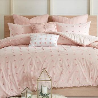 Eider & Ivory Aiden Reversible Comforter Set Size: Full/Queen Comforter + 6 Additional Pieces, Color: Blush Pink