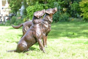 Cold Cast Bronze or Foundry Bronze #sculpture by #sculptor Tanya Russell titled: 'Labradors (Pair Realistic Life Like Portrait statue)'. #TanyaRussell