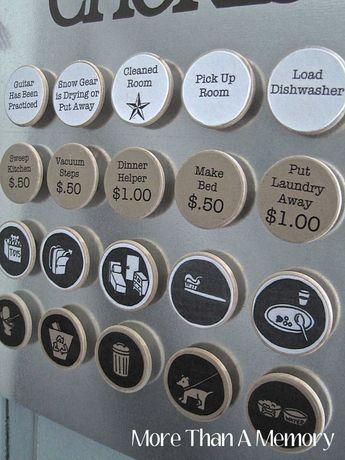 Set of (10) CUSTOM Chore Magnets: Custom Chore Chart System