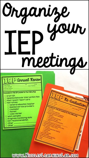 Special Education - IEP Meeting Cover Pages