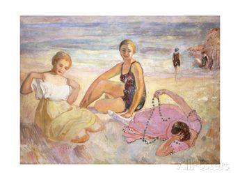 Three Women on the Beach Giclee Print by Henri Lebasque