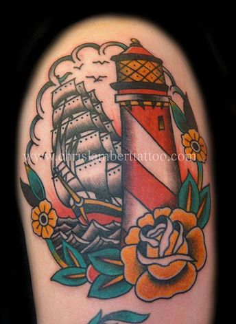 8b1d3716cb523 Traditional Light house and galleon tattoo