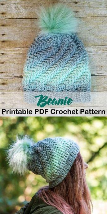 Make a cozy beanie. beanie crochet patterns - winter hat crochet patterns - crochet pattern pdf - amorecraftylife.com #crochet #crochetpattern