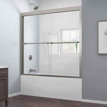 DreamLine Duet 55 to 59 in. x 58 in. Semi-Frameless Bypass Sliding Tub Door in Brushed Nickel-SHDR-1260588-04