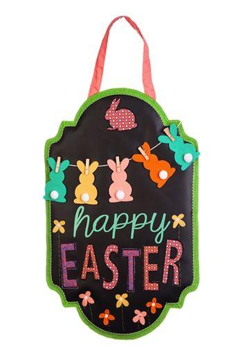 """Happy Easter Chalkboard Banner Burlap Door Decor - 19"""" x 18"""" - Evergreen"""