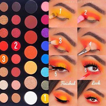 fire yellow and orange eye makeup