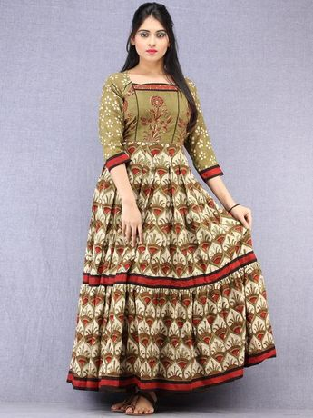1e84778c6c Mahreen - Hand Block Mughal Printed Long Cotton Embroidered Dress -  DS107F001