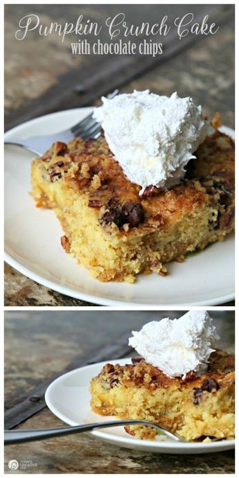 Pumpkin Crunch Cake with Chocolate Chips
