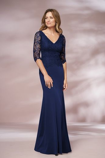 81c05bc47f J205010 Long V-neck Lace   Stretch Crepe MOB Dress with Sleeves