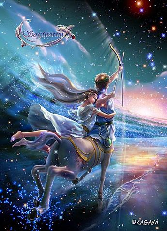 Sagittarius – Chiron, the wise man of Centaurs, draws a bow to the full. The target is the red bright star of wisdom that can be discerned only by the intelligent. He is getting further wisdom to serve for happiness of gods and people.