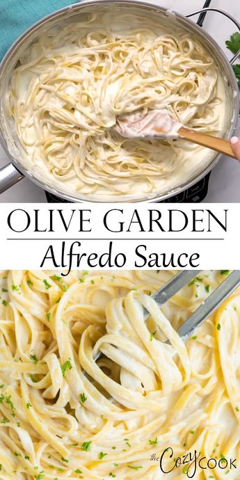 Make Olive Garden's Alfredo Sauce Recipe at home in just 20 minutes! Pair it with Fettuccine for an easy dinner idea the whole family will love! #alfredo #olivegarden #fettuccine #pasta #italian #dinner