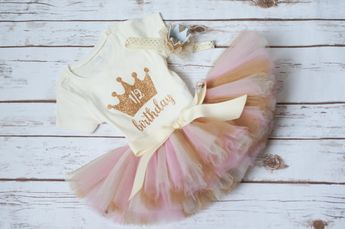 9d89f8ce8 Half birthday outfit 'Luca Gold' pink and gold half birthday, girl 6 month