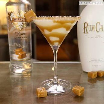 SALTED CARAMEL MARTINI 2 oz. (60ml) Caramel Vodka 2 oz. (60ml) Rum Chata Caramel Syrup Coarse Salt Caramel Candy PREPARATION Rim martini glass with caramel syrup and salt. Shake caramel vodka and rum...