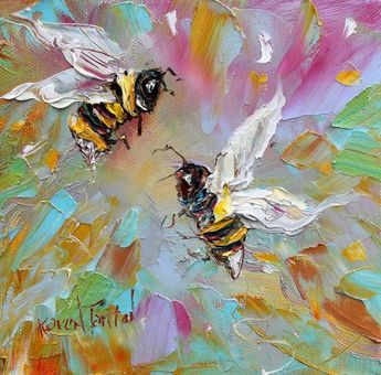 pinterest - palette knife paintings of animals   Original Spring Bees palette knife painting by Karensfineart