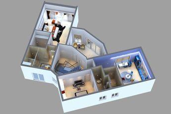 Detailed House floor 2 Cutaway 3D model 3D Model