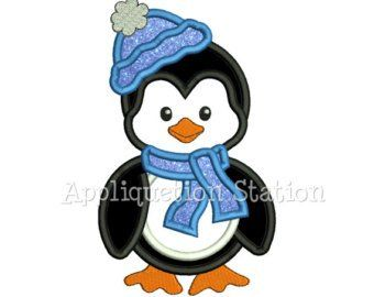 Cute Penguin Girl Skiing Applique Machine Embroidery Design Christmas Holiday Winter Ski INSTANT DOWNLOAD