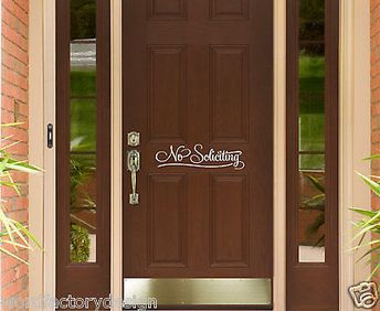 No Soliciting Vinyl Wall Decal Sticker Sign For Front Door Simple and Pretty