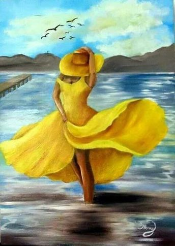 The best free jigsaw puzzles online! 🙂 #puzzle #jigsaw #jigsawpuzzles #game #puzzleonline #games #art #picture #painting #paint #woman #dress #yellow #image