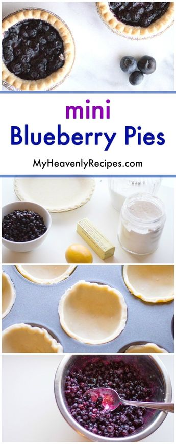 Mini Blueberry Pies Recipe - a super simple dessert recipe that will impress your guests. Serve each guest a gorgeous blueberry mini pie that will impress! #dessert #recipe #myheavenlyrecipes #blueberry