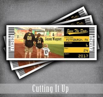baseball save the date ticket magnet tickets sports wedd