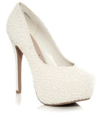 Cream Crochet Overlay Platform Court Shoes These are my wedding shoes ! i love them  !