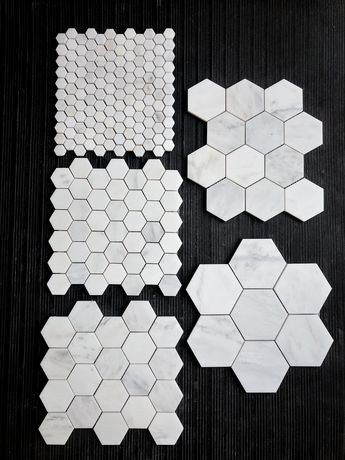 Starting at $11.25 per SF. The Builder Depot carries a range of sizes of this modern popular hexagon marble mosaic. Pictured our signature Carrara Venato Marble Honed. Also available in polished! #marble #hexagon #remodeling #homeimprovement