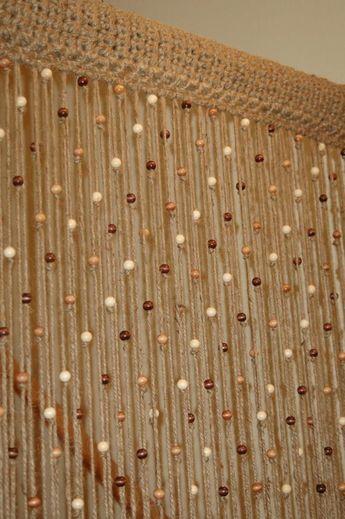 Puerta/ventana de cortina de ganchillo de yute natural con cuentas de madera. Cortina de cuentas natural, cuentas de puerta hechas a mano en 3 a 4 semanas. Tamaños personalizados