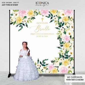 first communion party decor god bless personalized backdrop floral pinkgoldivory