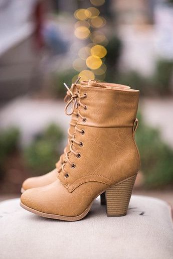 Women's Khaki Chunky Heel Boots Lace Up Ankle Booties
