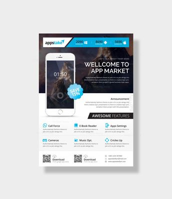 App Market Stylish Business Flyer Design Template - Graphic Templates