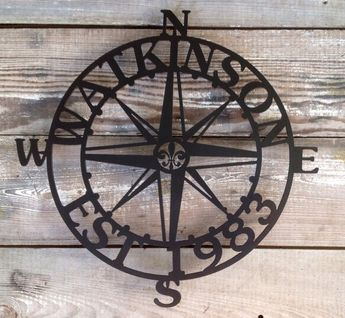 20-28 Inch Steel Nautical Compass Rose Star Customizable Personalized Steel Plaque Sign Metal Establish Date
