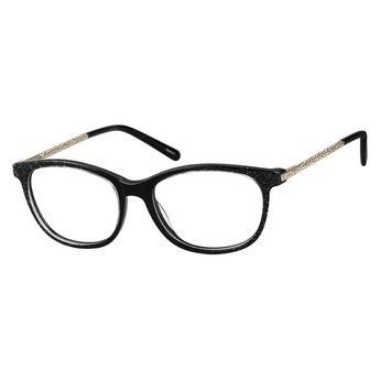60376aebc90 Zenni Womens Oval Prescription Eyeglasses Black Mixed Materials 7806021