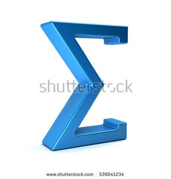 Sigma, Summation Symbol. 3D Rendering Illustration