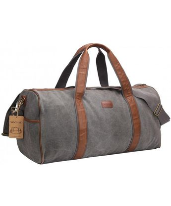 Large Canvas Travel Duffel Bag For Mens Womens Overnight Weekend Bag Khaki  - Grey - CL12IPB9BBV fb1fe9d4a2d88