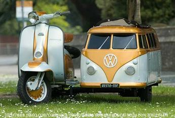 Vespa Scooter with VW side car in orange.... YES PLEASE!!!!