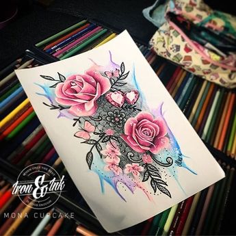 Image result for flower watercolor lace tattoo
