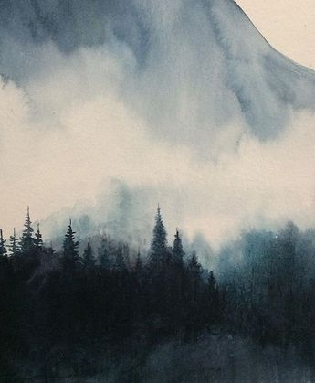 Mountain watercolor, mountain landscape, Scottish highlands, misty mountains, watercolor landscape, British landscape, watercolor painting, misty pine trees