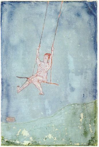 Paul Klee - Nu sur une balançoire (Nude on a swing) Reverse glass painting…