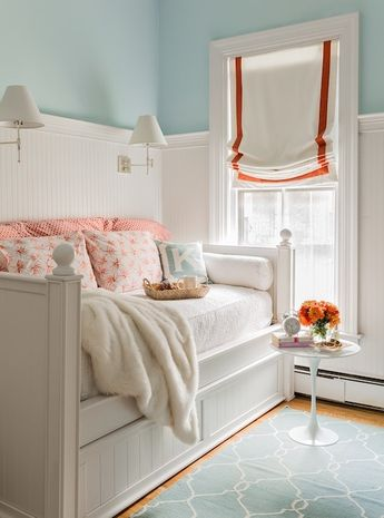 Girls Bedroom Roman Shades White Linen with Trim on Sides and Bottom (shown in Samuel and Son Printemps Chevron Border Trim Fuchsia 977-52389-55)