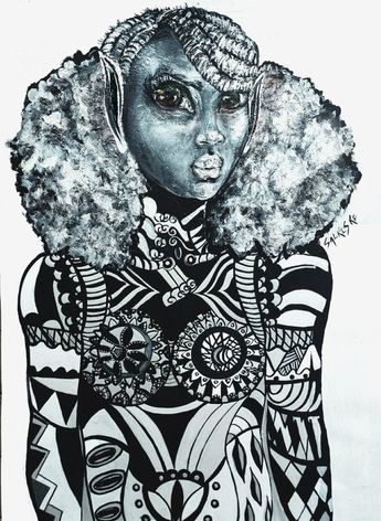 African Girl African Art, Portrait Painting Black and White African Art Portrait Painting, Black and White Wall Art, Wall art, Canvas print