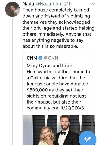 Miley Cyrus and Liam Hemsworth donate money to help their community rebuild after their house burns down in a wildfire