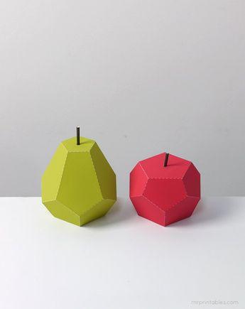 Объемные поделки из бумаги. Шаблоны фруктов для объемной аппликации, фото 11