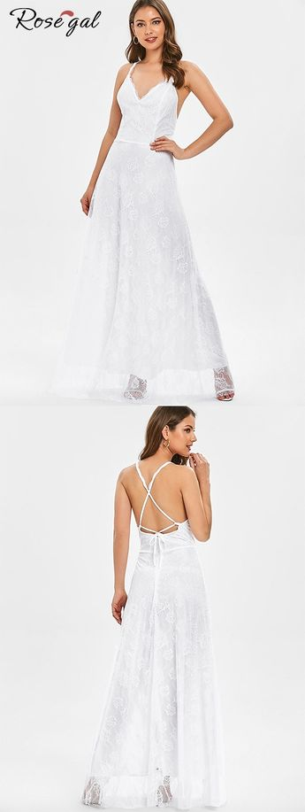 White Lace Up Maxi Party Dress for Dates #Rosegal #lace #dress #party #womenfashion