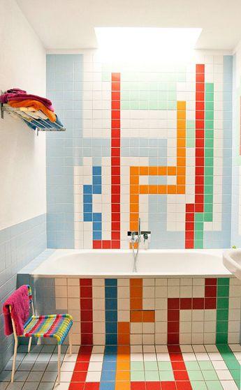 LOVE this colourful bathroom! tetris time!