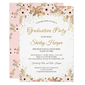gold star graduate graduation party invitation