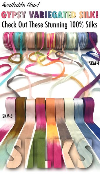 1.25 Inch 100% Hand-Dyed Variegated (multi-color) Silk Ribbon with Woven Edge
